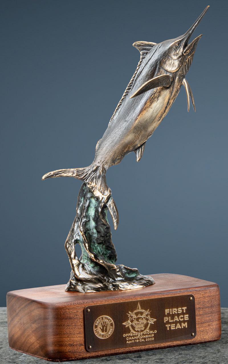 Bodo bronze sculpture, trophy marlin